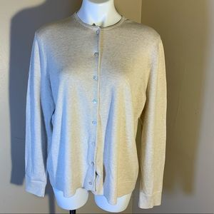 Lands End Oatmeal Colored Cardigan